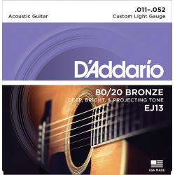 D'Addario EJ13 BRONZE 80/20 Струны для акустической гитары, 11-52