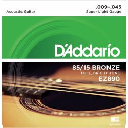 EZ890 AMERICAN BRONZE 85/15 Струны для акустической гитары Super Light 9-45 D`Addario