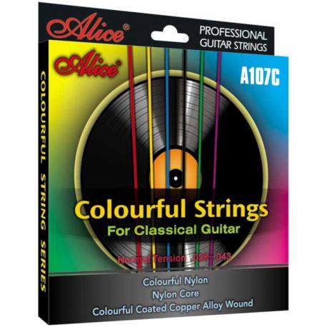 A107С Комплект струн для классической гитары, разноцветный нейлон, медь, Alice
