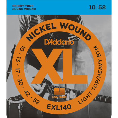 EXL140 XL NICKEL WOUND Струны для электро-гитары Light Top/Heavy Bottom 10-52 D`Addario