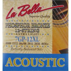 Струны LA BELLA для 12-ти струнной акустической гитары 7GP-12XL