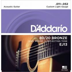 EJ13 Струны для акустической гитары Custom Light 11-52 D`Addario