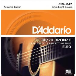 EJ10 Струны для акустической гитары бронза Extra Light 10-47 D`Addario