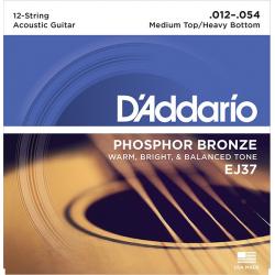 D'Addario EJ37 Phosphor Bronze Комплект струн для 12-струнной гитары