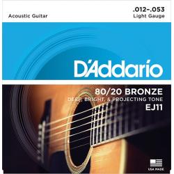 D'Addario EJ11 BRONZE 80/20 Струны для акустической гитары, 12-53
