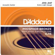EJ15 PHOSPHOR BRONZE Струны для акустической гитары фосфорная бронза Extra Light 10-47 D`Addario
