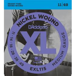 EXL115 XL NICKEL WOUND Струны для электрогитары Blues/Jazz Rock 11-49 D`Addario