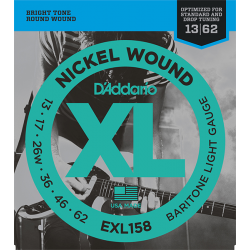 EXL158 XL NICKEL WOUND Струны для электрогитары Baritone-Light 13-62 D`Addario