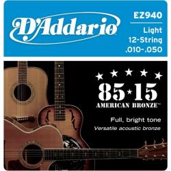 Струны D'ADDARIO EZ940 для 12-ти струнной акустической гитары с бронзовой обмоткой
