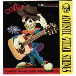 A206-L Light Комплект струн для акустической гитары, фосфорная бронза, 12-53, Alice