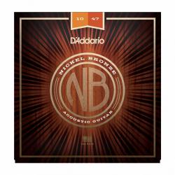 NB1047 Nickel Bronze Комплект струн для акустической гитары, Extra Light, 10-47, D'Addario
