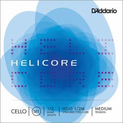 H510-1/2M Helicore Комплект струн для виолончели размером 1/2, среднее натяжение, D'Addario