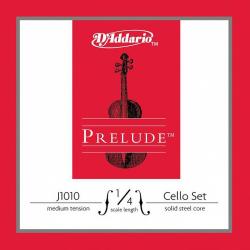 J1010-1/4M Prelude Комплект струн для виолончели размером 1/4, среднее натяжение, D'Addario