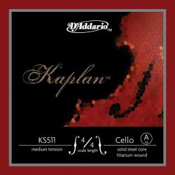 KS511-4/4M Kaplan Отдельная струна Ля/A для виолончели размером 4/4, среднее натяжение, D'Addario