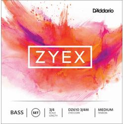 DZ610-3/4M Zyex Комплект струн для контрабаса размером 3/4, среднее натяжение, D'Addario