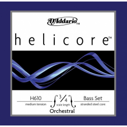 H610-3/4M Helicore Orchestral Комплект струн для контрабаса размером 3/4, среднее натяж, D'Addario