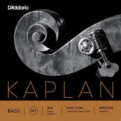 K610-3/4M Kaplan Комплект струн для контрабаса размером 3/4, среднее натяжение, D'Addario