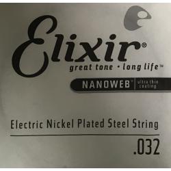 Nanoweb Отдельная струна для электрогитары, никелированная, .032, Elixir, 13232