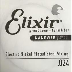 Nanoweb Отдельная струна для электрогитары, никелированная, .024, Elixir, 13224