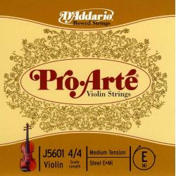 J5601-4/4M Pro-Arte Отельная струна E/Ми для скрипки размером 4/4, среднее натяжение, D'Addario