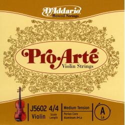 J5602-4/4M Pro-Arte Отдельная струна А/Ля для скрипки размером 4/4, среднее натяжение, D'Addario