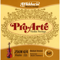 J56W-4/4M Pro-Arte Комплект струн для скрипки размером 4/4, среднее натяжение, D'Addario