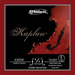 K301W Kaplan Отдельная струна Е/ми для скрипки размером 4/4, среднее натяжение, D'Addario