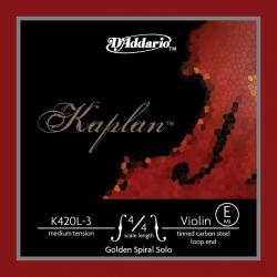 K420L-3 Kaplan Golden Spiral Solo Отдельная струна E/Ми для скрипок разм. 4/4, ср. нат, D'Addario
