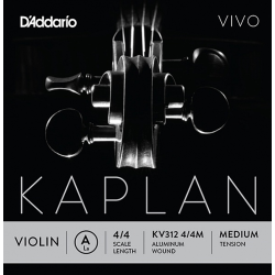 KV312-4/4M Kaplan Vivo Отдельная струна A/Ля для скрипки размером 4/4, среднее натяжение, D'Addario