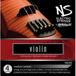 NS310 NS Electric Комплект струн для электроскрипки размером 4/4, среднее натяжение, D'Addario