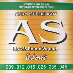 AS109 Brass Round Wound Комплект струн для акустической гитары, латунь, 09-45, Fedosov