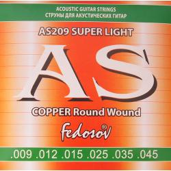 AS209 Copper Round Wound Комплект струн для акустической гитары, медь, 09-45, Fedosov