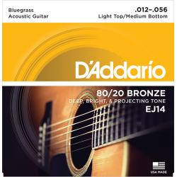 EJ14 Bronze 80/20 Струны для акустической гитары, 12-56, Light Top/Medium Bottom/Bluegrass D'Addario