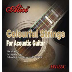 AW435С-SL Комплект струн для акустической гитары, цветные, медь, 11-52, Alice