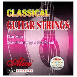 AC107-N Комплект струн для классической гитары, нейлон, посеребренные, Alice