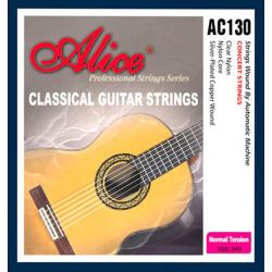 AC130-N Комплект струн для классической гитары, нейлон, посеребренная медь [12] Alice