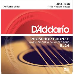 EJ24 Phosphor Bronze Комплект струн для акустической гитары, ф/бронза, True Medium, 13-56, D'Addario