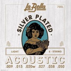 700L Комплект посеребренных струн для акустической гитары, La Bella