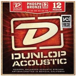DAP1252J Комплект струн для 12-струнной акустической гитары, фосфорная бронза, Medium, 12-52, Dunlop